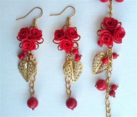 Handmade Earings - earrings and bracelet handmade jewelry reserved