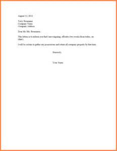 Exle Letter Of Resignation 2 Week Notice by Exle Of Two Week Notice Letter Sales Report Template