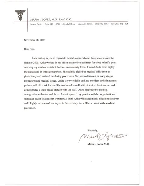 Recommendation Letter Physician Free Letter Of Recommendation For Doctors Doctor Letter Template 13 Free Sle Exle Format