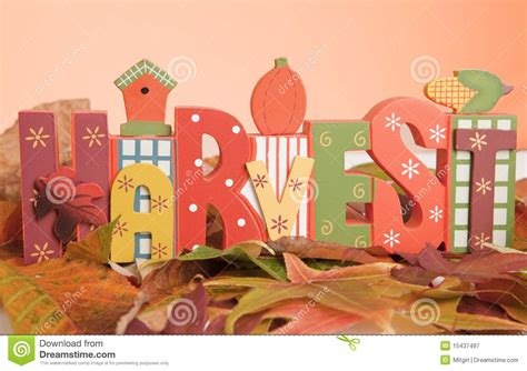 The Word the word harvest symbolizing fall royalty free stock