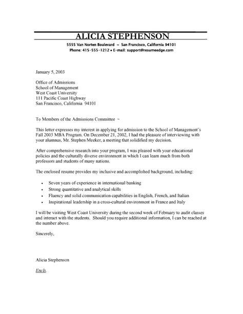 mba program cover letter