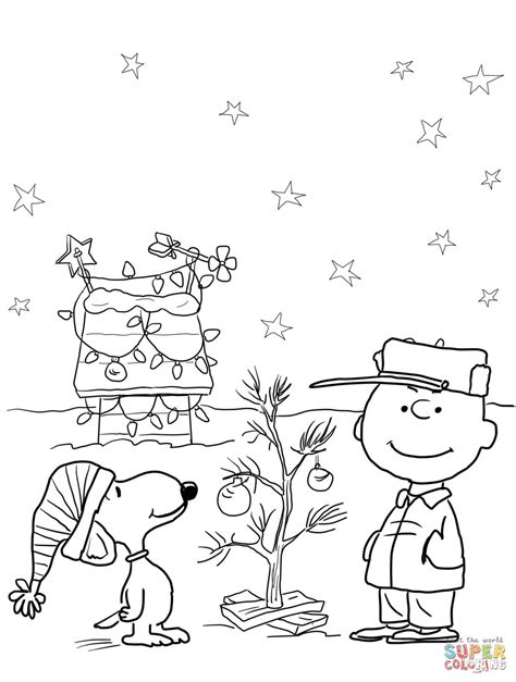 charlie brown christmas coloring page free printable