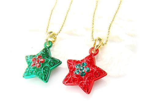 christmas star pendant necklace ornament charm jewelry red