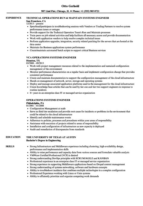 operations systems engineer resume sles velvet