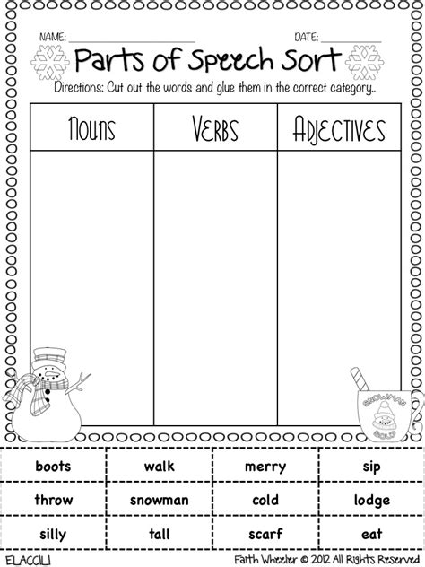 Parts Of Speech Review Worksheets by 1st Grade Fantabulous Alarm Clocks Freebies