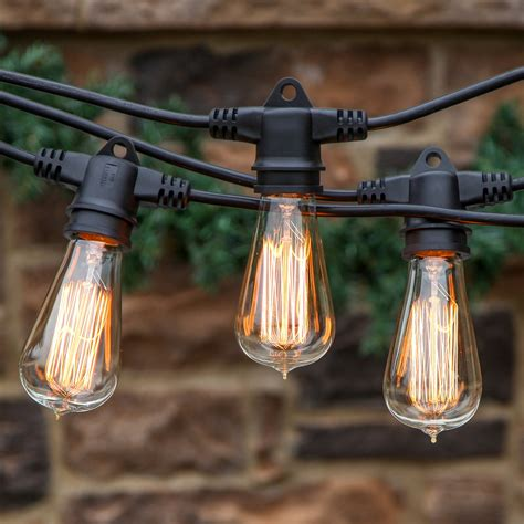 Vintage Outdoor String Lights Brightech Ambience Pro Vintage Edition Outdoor Commercial String Lights Wit Ebay
