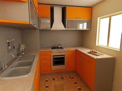 Plus orange wooden design for a small kitchen plus glass cabinets