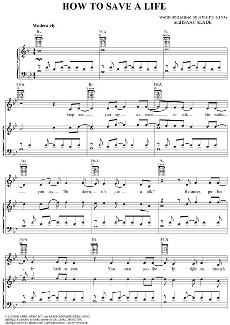 tutorial piano how to save a life how to save a life sheet music music for piano and more