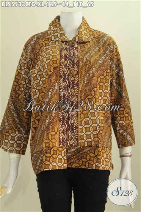 Blus Batik Elegan 263 Cap blus batik motif klasik proses cap tulis soga dengan warna elegan baju batik wanita dewasa