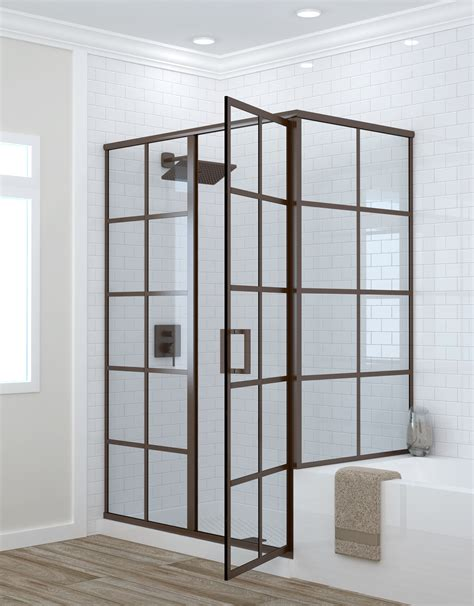 Grid Shower framed shower doors grid pattern metropolis series