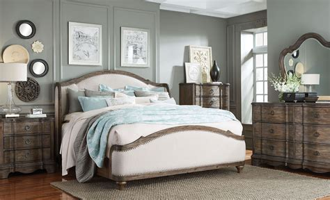 upholstered bedroom sets parliament vintage dusty brown upholstered platform