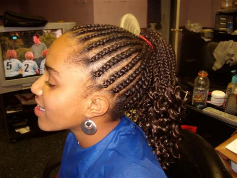 kids scalp braids with loose ends cornrows with ends dipped to crinkle braids and weaves