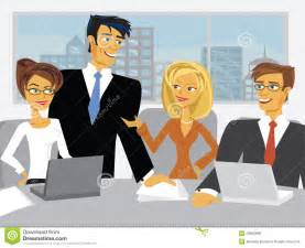 vector meeting scene with cartoon business people royalty free stock images   image 29962899
