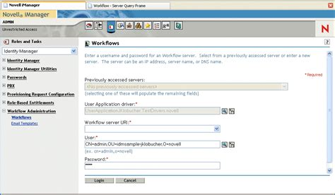 workflow administration novell doc identity manager user application