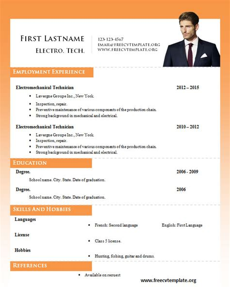 resume templates ms word word resume templates 980 to 986 free cv template dot org
