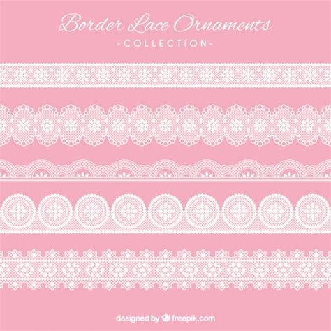 Lace Bordir border lace ornaments set vector free