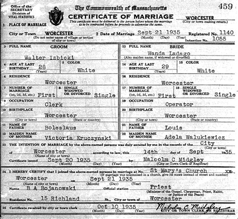 Birth Records Worcester Ma The Marriage Of Walter C Izbicki And Wanda B Ladago