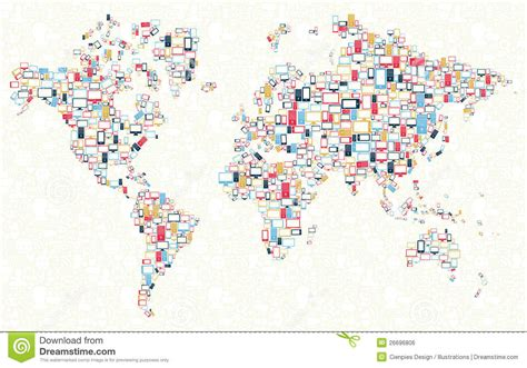 world map illustration free gadgets icons world map illustration stock vector image