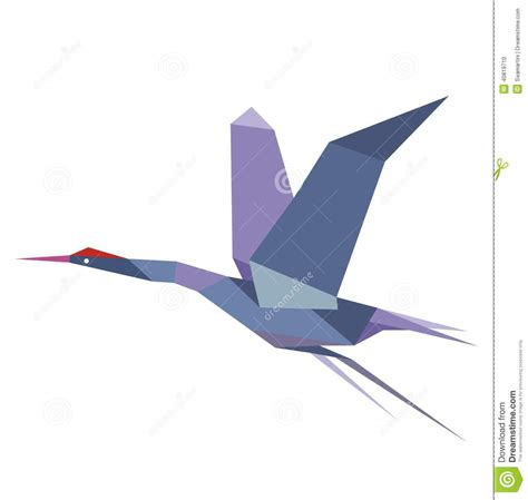 Flying Origami Crane - origami flying crane or heron stock vector image
