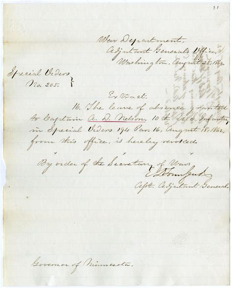 Report Sick Letter Special Order Revoking Leave And Report Of Sick August 25 1862 Museum Collections Up