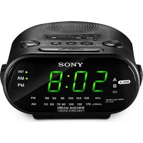 buydig sony icf c318 black automatic time set am fm clock radio with dual alarm