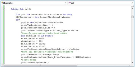 sle vb net programs solver tutorial step by step product mix exle in