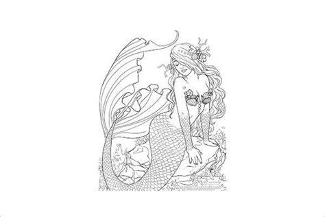mermaid coloring pages  premium templates