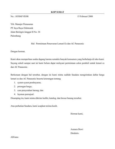 Surat Permintaan Barang by 8 Contoh Surat Penawaran Harga Barang Jasa Kerjasama Dll