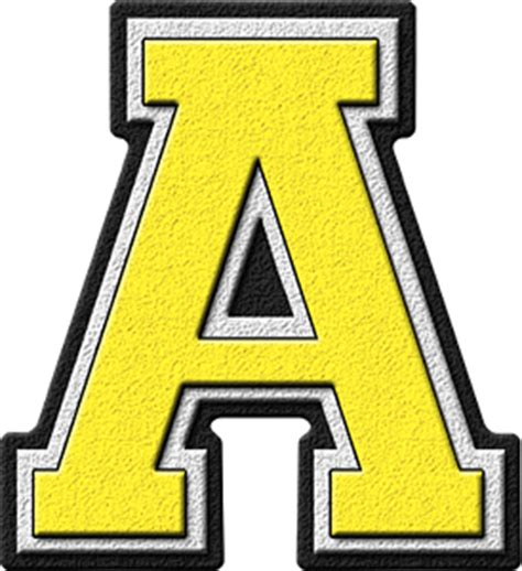 Letter A Presentation Alphabets Yellow Varsity Letter A