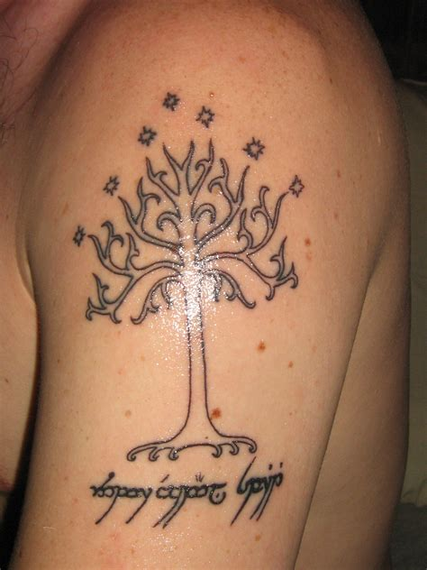 help with tattoo design white tree of gondor my design with a help