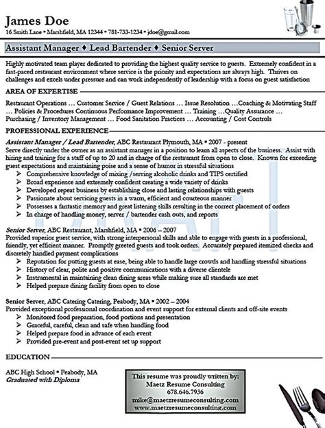 list of bartender duties for resume 28 images