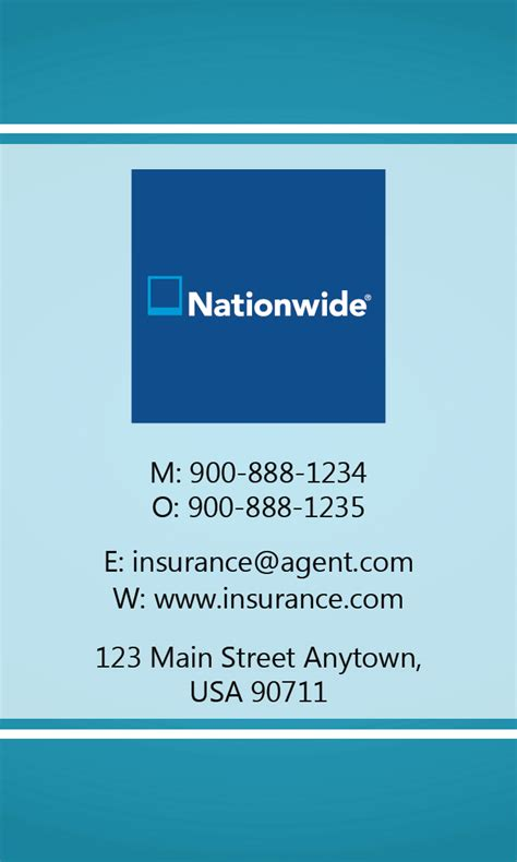 nationwide insurance card template blue nationwide business card design 206031