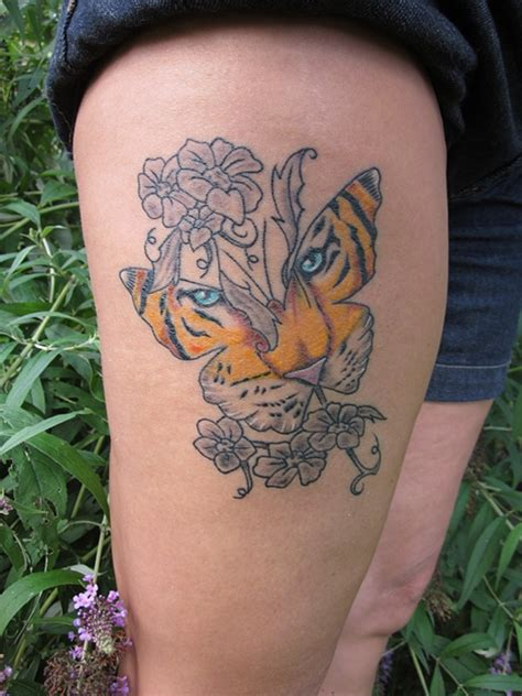 tattoo butterfly tiger face 53 tiger tattoos and designs for thigh