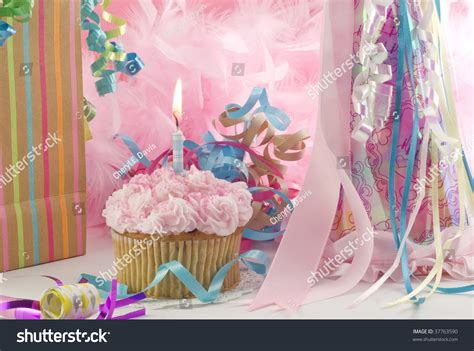 party themes beginning with z birthday party delicious pink cupcake one stock photo