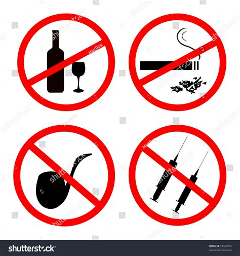 alcohol vector vector of no smoking no alcohol and no drugs signposts