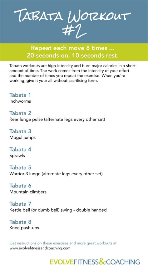 tabata workout 2 evolve fitness coaching
