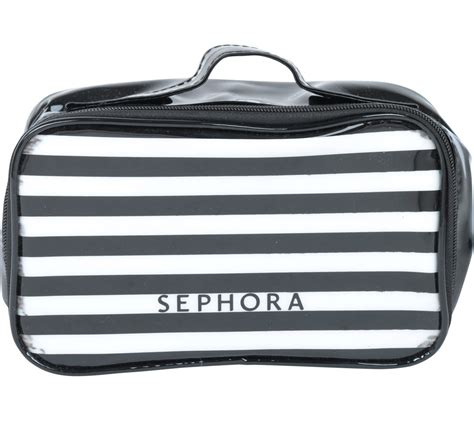Tas Sephora sephora black and white striped make up pouch