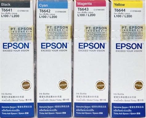 Tinta Original Epson T6644 Yellow 70ml jual tinta epson l100 original aksesoris computer murah