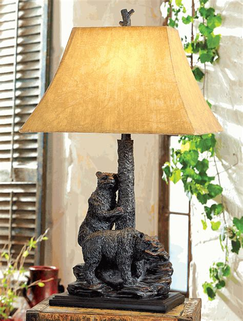 Rustic Table Lamps: Foraging Bear Table Lamp Black Forest