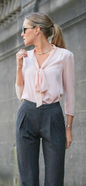 Pastel Blouse Moura Casual office look pink pastel tie bow blouse with high waisted grey trousers fashion