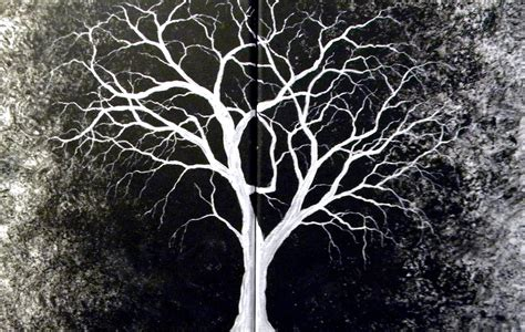 whit tree introverted painting white tree original painting