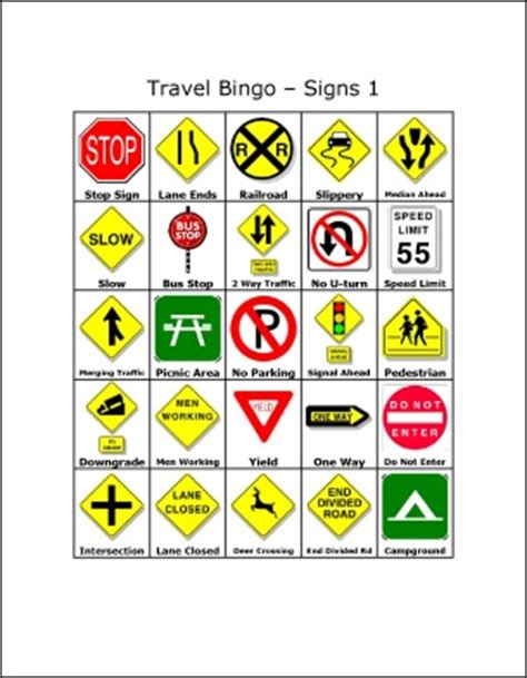 printable road signs and meanings travel bingo traffic signs free printables bingo