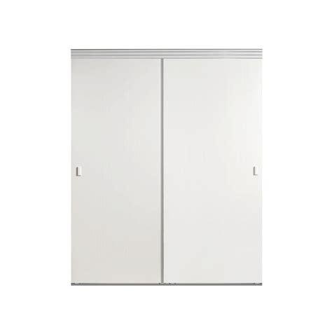 Impact Plus Closet Doors Impact Plus 48 In X 96 In Smooth Flush White Solid Mdf Interior Closet Sliding Door With