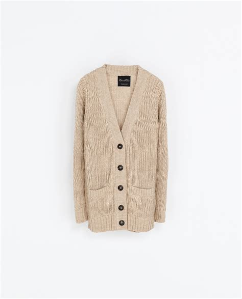 zara knit cardigan zara rib knit cardigan in beige light camel lyst