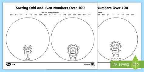 Sorting And Even Numbers Worksheet