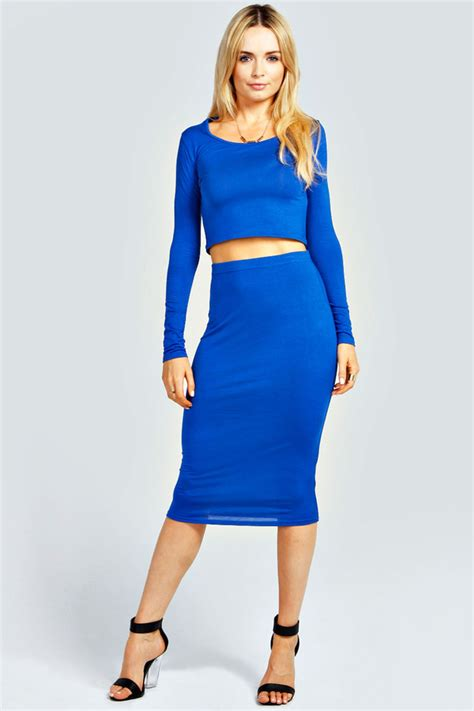 blue midi skirt boohoo demi sleeve crop top midi