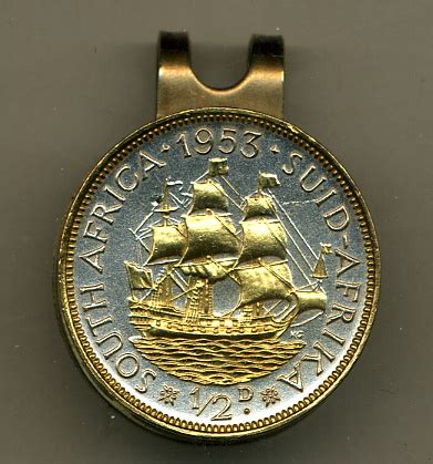 gold on silver south africa 1/2 penny sailing ship hat