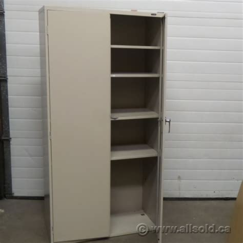 Two Door Metal Storage Cabinet Global Beige 72 Quot 2 Door Metal Storage Cabinet Locking Allsold Ca Buy Sell Used Office
