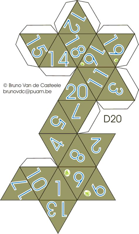 printable d20 dice how to construct 20 sided ball pattern google search