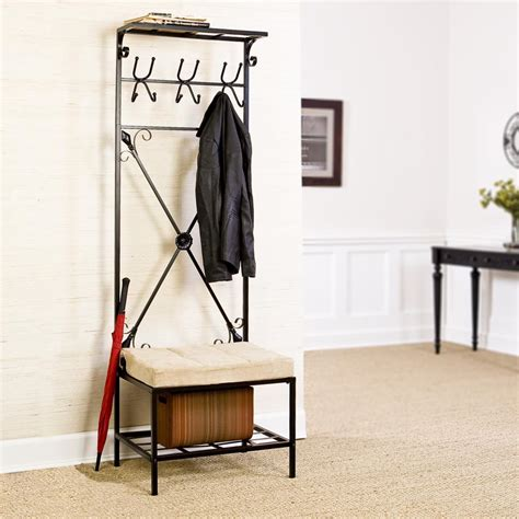Metal Entryway Bench With Coat Rack sei black metal entryway storage bench with coat rack furniture decor